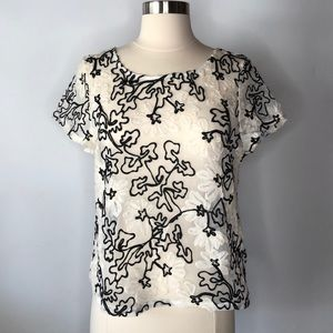 Anthropologie Meadow Rue Sheer Floral Aplique Top